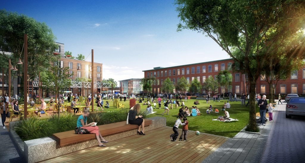 Rendering of Village Green for Needham Street development